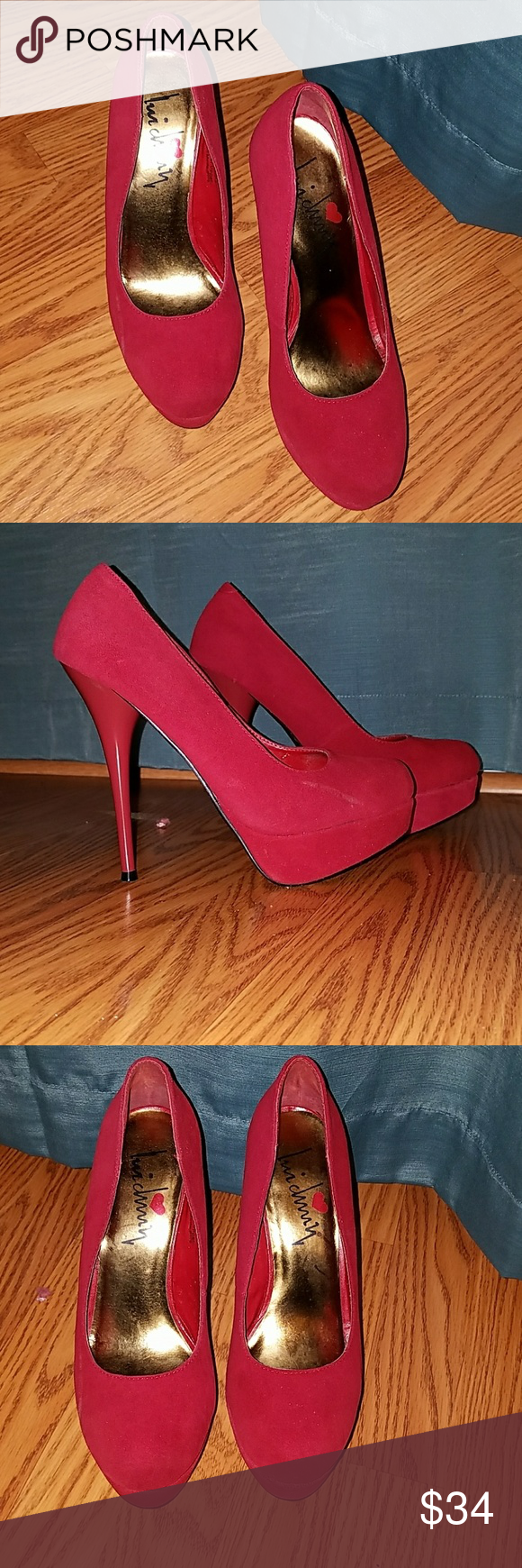 Lui Chung Red Suede Platform Heels Size 9 Lui Chung Red