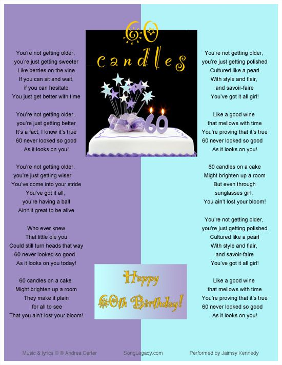 Astounding Lyric Sheet For Original 60Th Birthday Song For A Woman Composed Personalised Birthday Cards Veneteletsinfo