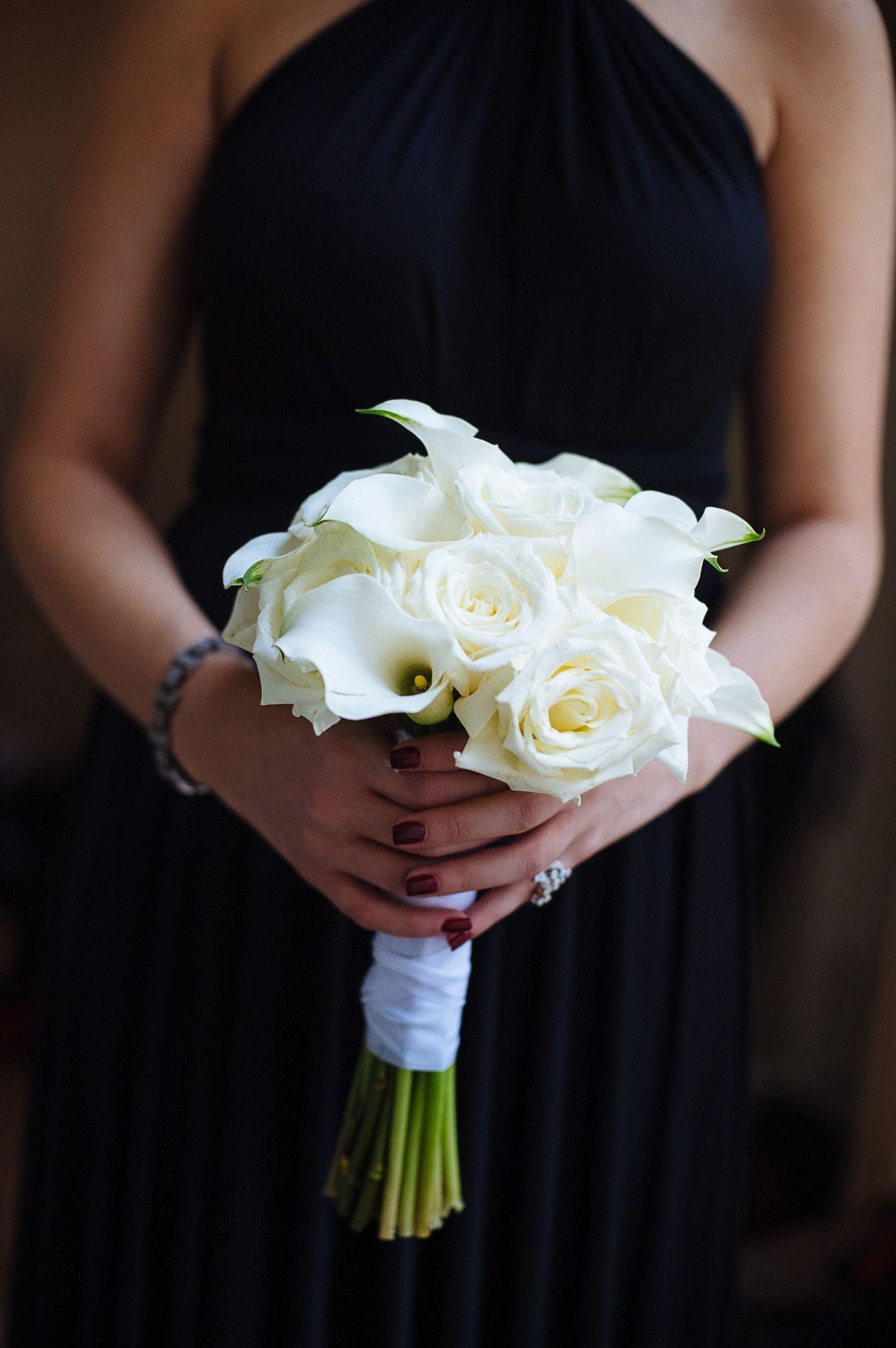AllWhite Calla Lily and Rose Bouquet White calla lily