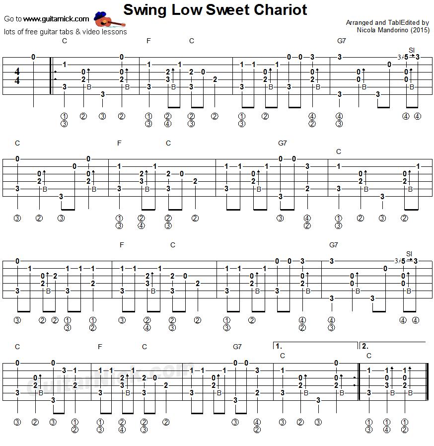 Swing Low Sweet Chariot Fingerstyle Guitar Tablature Guitar