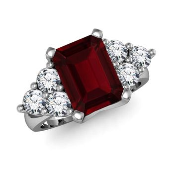 Angara Emerald-Cut Garnet Statement Ring in Yellow Gold