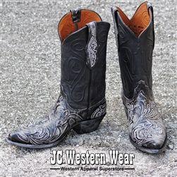 Mens Black Jack Hand Tooled Boots, HTP