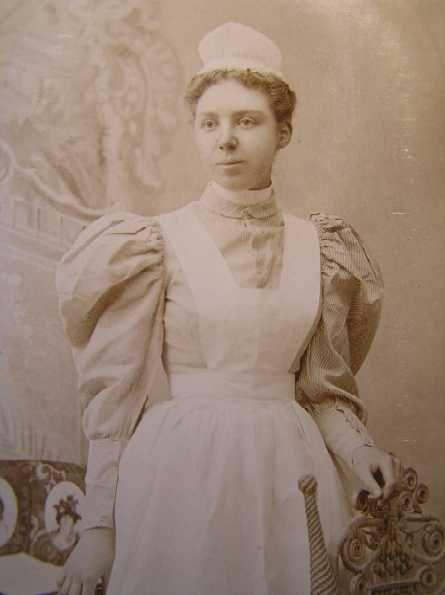 623d915c2a1 Victorian Nurse with apron & pouf blouse. | Vintage Photos from the ...