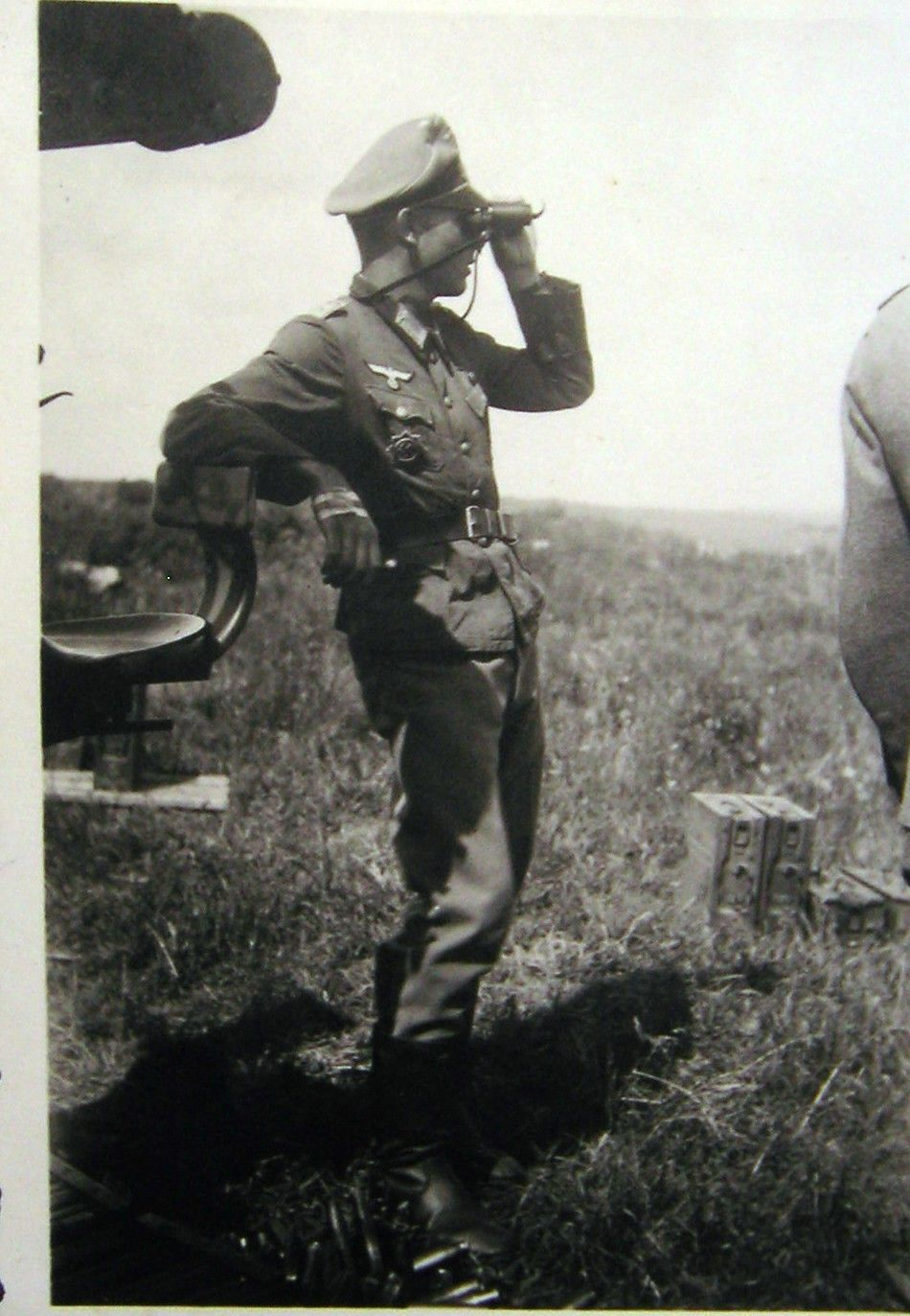 German Officer With Binoculars Holder Of The German Cross In Gold