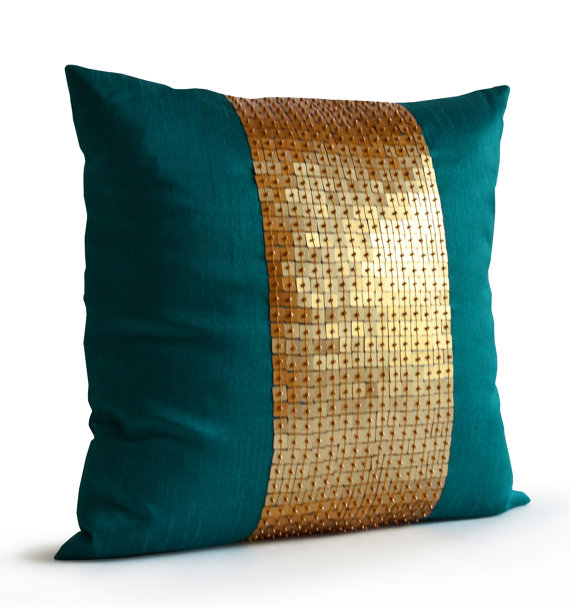 Decorative Teal Blue Pillow Cushion Cover Dark Turquoise Throw Pillow Beaded Color Block Blue Green Turquoise Throw Pillows Teal Pillows Teal Pillow Covers