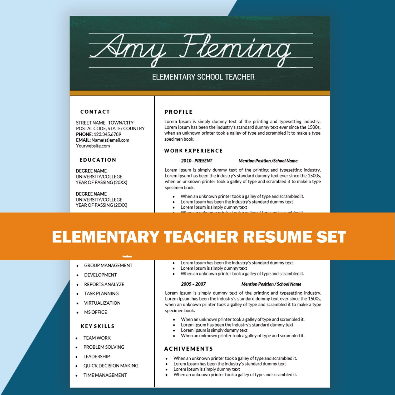 Resume Templates For Teachers Elementary Teacher Resume Cv Templates Teaching Resume Cover