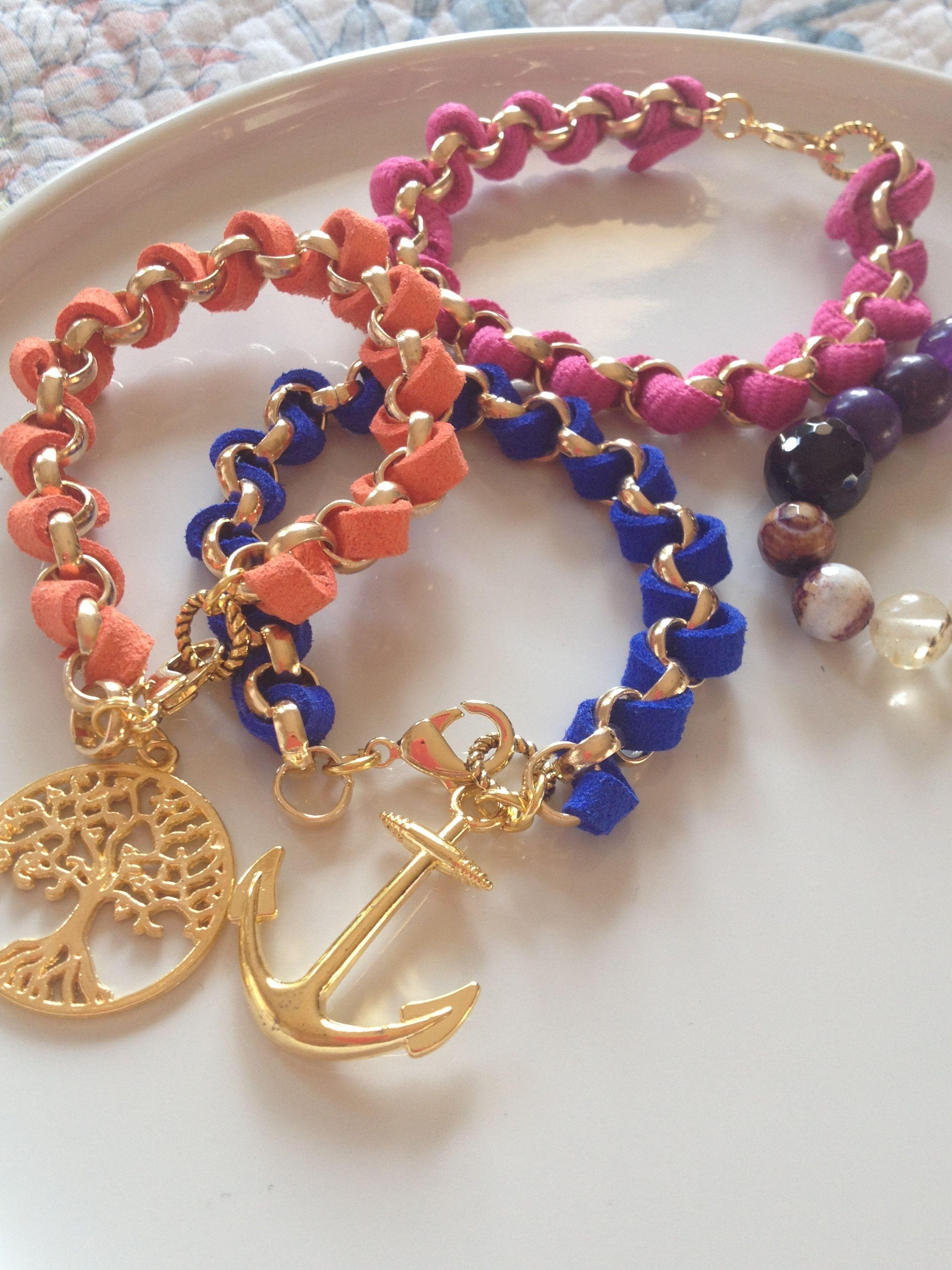 pulseras de cadena y cintas de gamuza