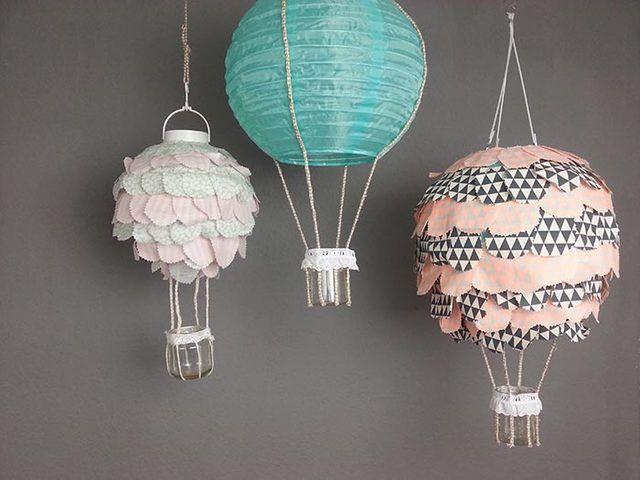 diy-anleitung: heißluftballon-lampe für das kinderzimmer basteln ... - Kinderzimmer Deko Dawanda