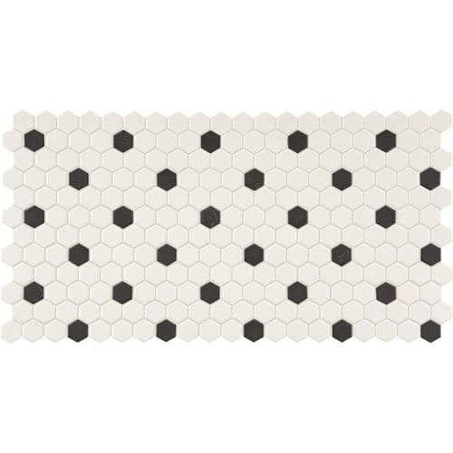Daltile Dk1hexmsp Keystones 1 X Hexagon Mosaic Multi Surface Tile Unpoli White With Black Dot