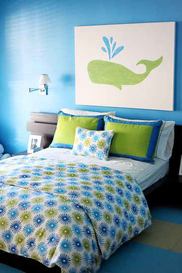 boy's rooms - Platform IKEA bed canvas art kid's rooom darkwood furniture green and blue whale art swing arm wall lamps striped FLOR rug  Designed