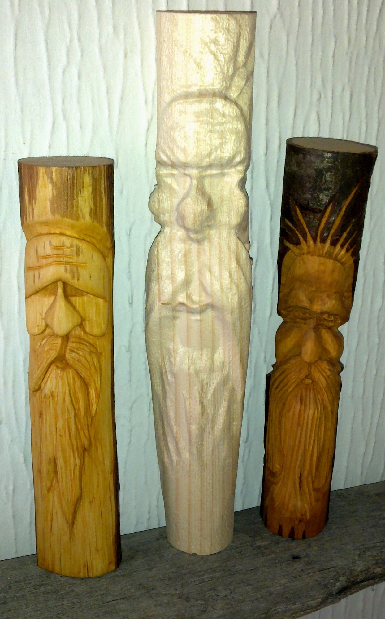 Practice wood spirit carvings
