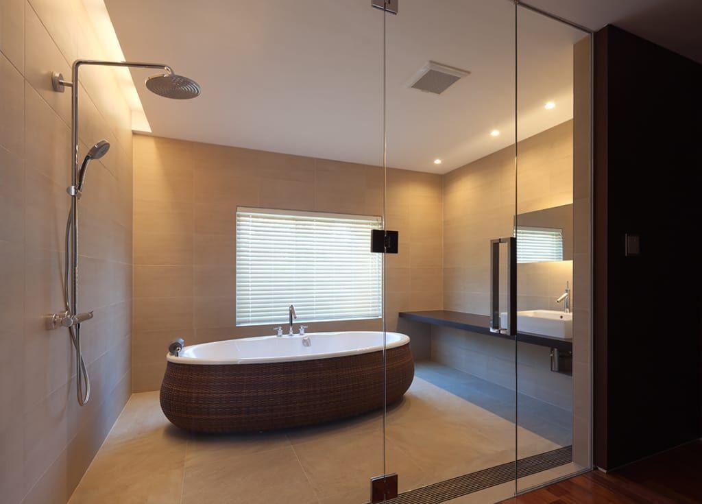 2階寝室専用浴室 和風の お風呂 の Atelier Square 和風 モダンな