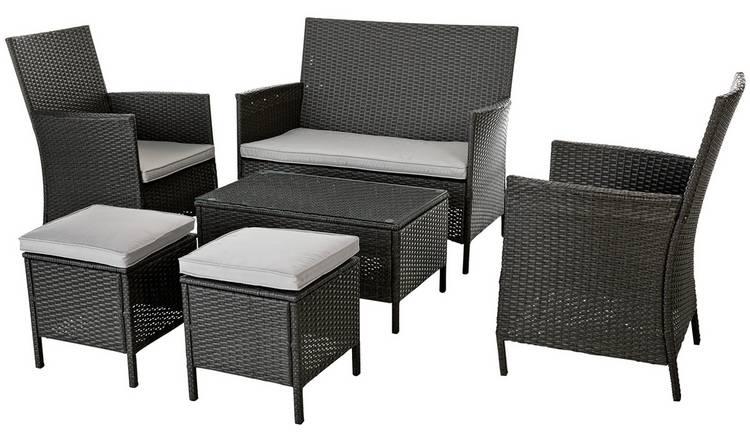 Buy Argos Home 6 Seater Rattan Effect Sofa Set - Dark Grey ...