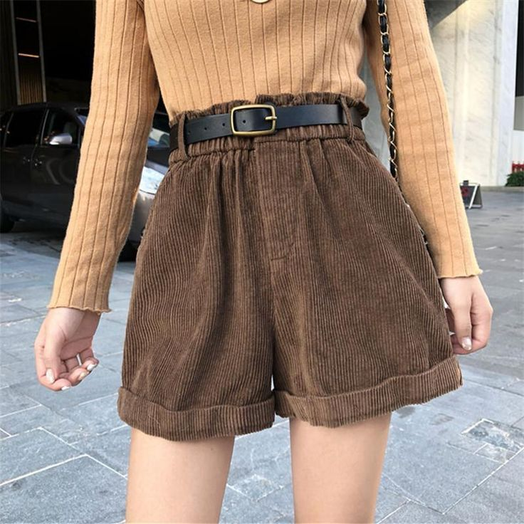 Corduroy high waist retro shorts - #Corduroy #High #retro #Shorts #Waist #facecare