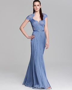 NWT Tadashi Shoji Embellished Lace   Silk Chiffon Gown (8) 5a348acaeaa2