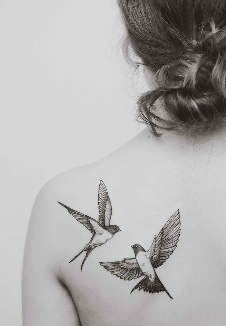 Swallows Done By Minnie Seventh Day Studio Bird Tattoos Arm Tattoos Two Birds Tattoo