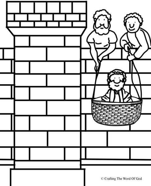Paul Lowered In A Basket Coloring Page Bible School Crafts
