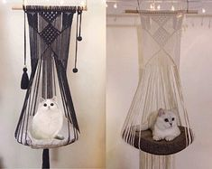 Hanging macrame cat bed with hooks - Pet-safe rope hanging planter - crocheted cat indoor swing - Hanging hammock for cats