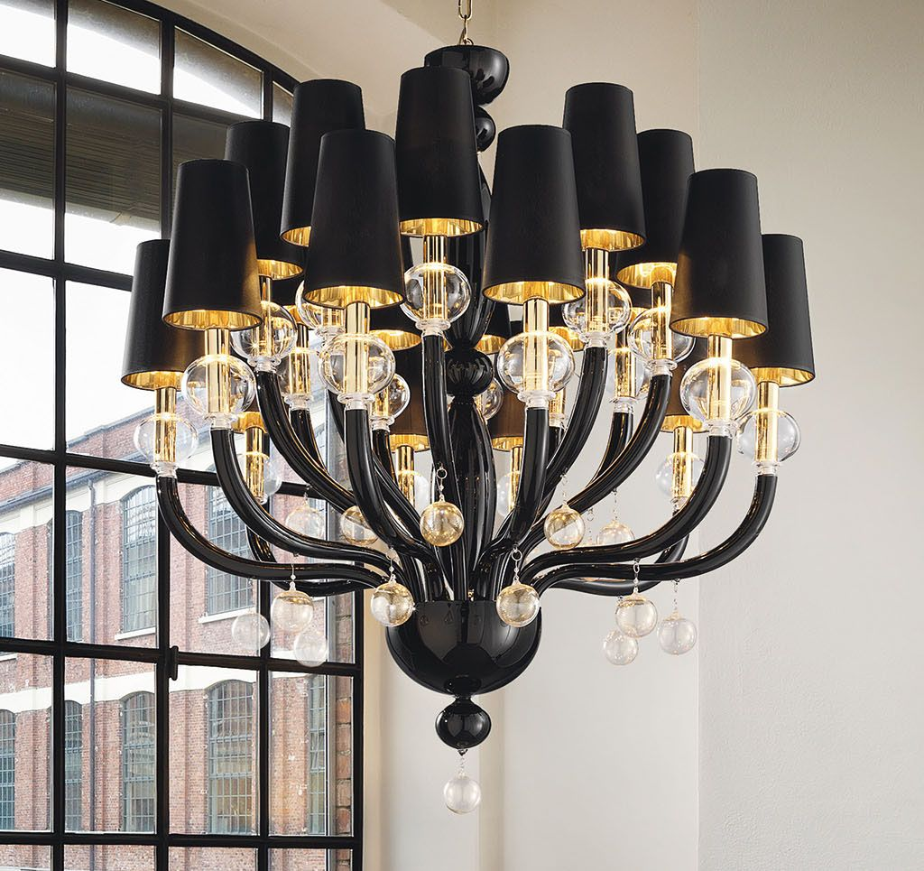 Black glass modern murano chandelier with black lampshades black glass modern murano chandelier with black lampshades dmmadml20k mozeypictures