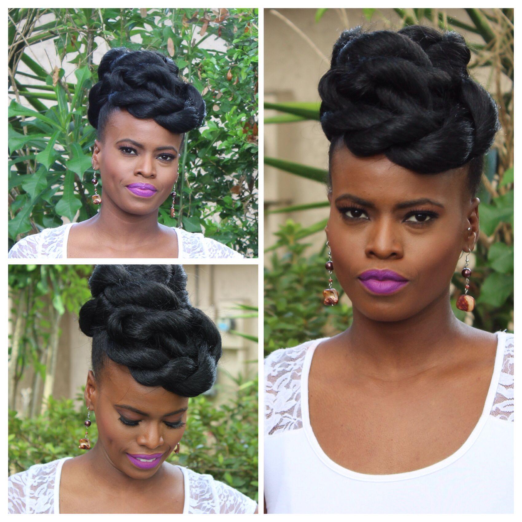 Faux updo on natural hair hair on fleek ❤ Pinterest