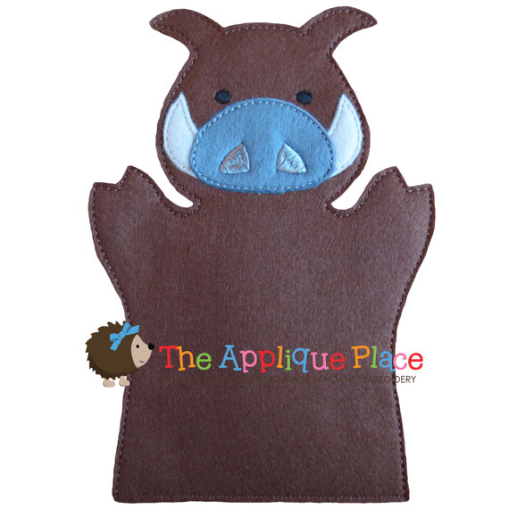 Warthog Hand and Finger Puppet In The Hoop Machine Embroidery Applique Design