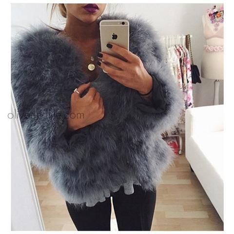 4095ad094d31 Hepburn - Ostrich Feather Coat - Smokey Grey | Outfits | Fashion ...