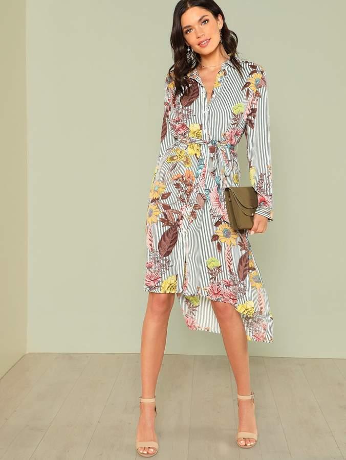 d48a24da20 SheinShein Slit Side Mixed Print Dip Hem Shirt Dress | Products in ...