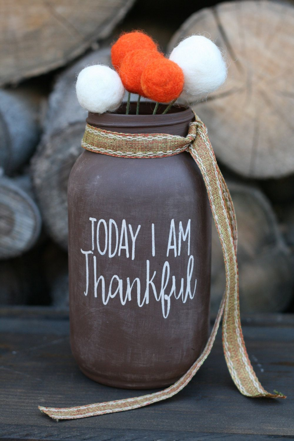 Thankful fall jar with felt ball bouquet fall thankful mason jar