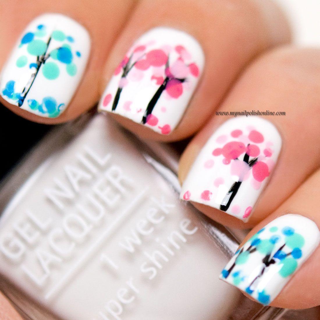 Nail Art – Blooming Trees (My Nail Polish Online) | Baum, Muster und ...