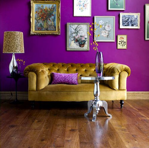 gold couch, purple walls ..... LSU