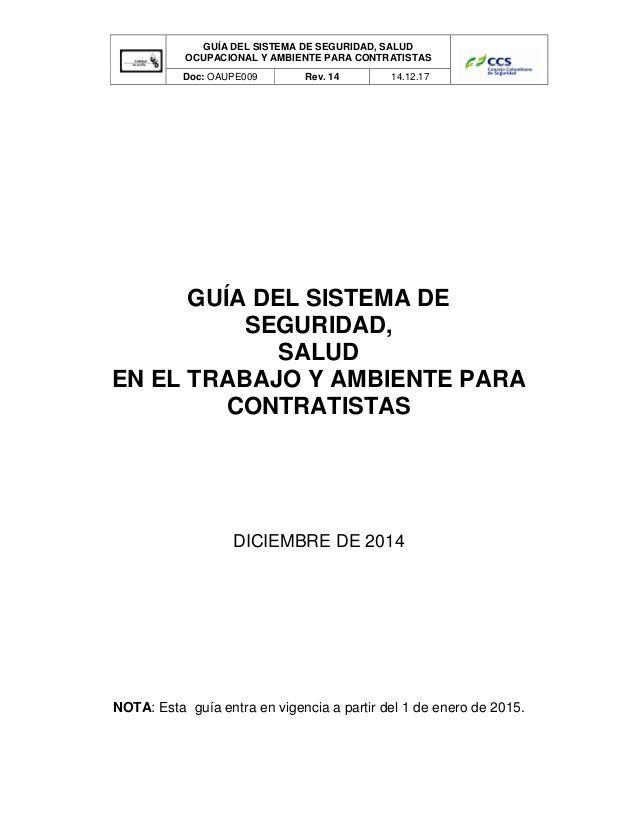 GUÍA DEL SISTEMA DE SEGURIDAD, SALUD OCUPACIONAL Y AMBIENTE PARA - transfer agreement