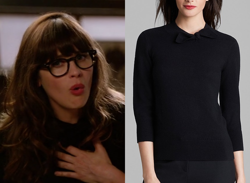 Jess Day (Zooey Deschanel) wears a black sweater with a knotted ...