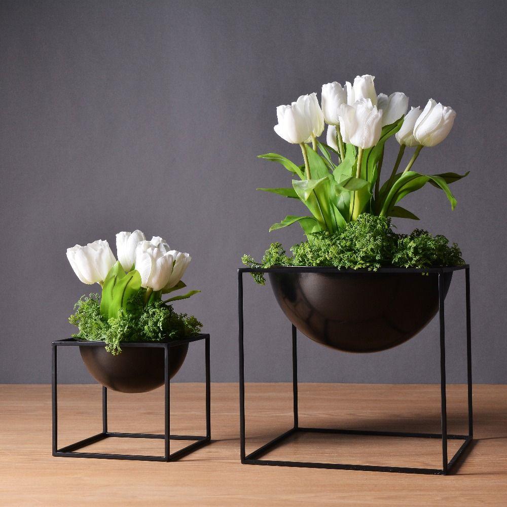 Pas Cher Noir Moderne De Table Tanche Cube En M Tal Pot De Fleur