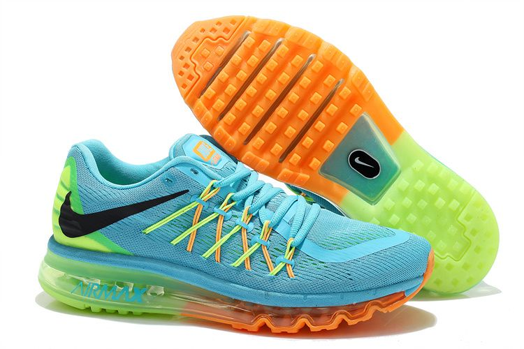 purchase cheap 06fa8 6f01d Nike Air Max 2015 Womens Rainbow Fluorescent Green Sky Blue Bright Citrus