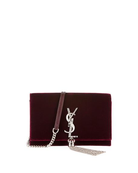 d339c276e695 SAINT LAURENT Toy Kate Monogram Small Tassel Velvet Crossbody Bag ...
