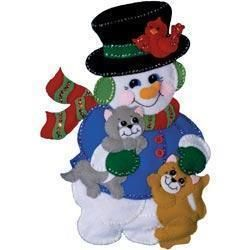 Design Works Snowman With Cats Wall Hanging Felt Applique Kit - 13 X18