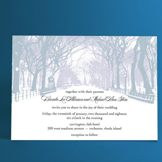 Winter Wedding Invitations with Trees Winter by ALookOfLove