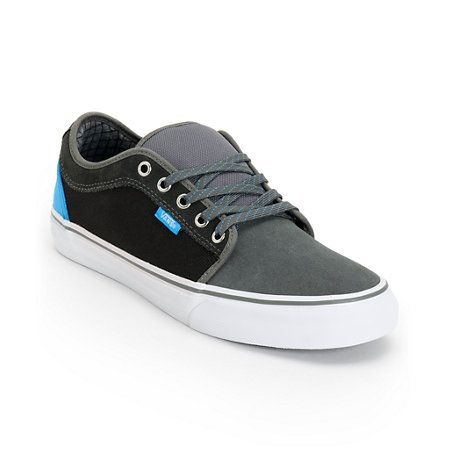 d1c77732d35f2b The sky is the limit with the Vans Chukka Low charcoal and sky blue canvas  skate shoes. These guys low profile skate shoes feature a charcoal grey  suede ...