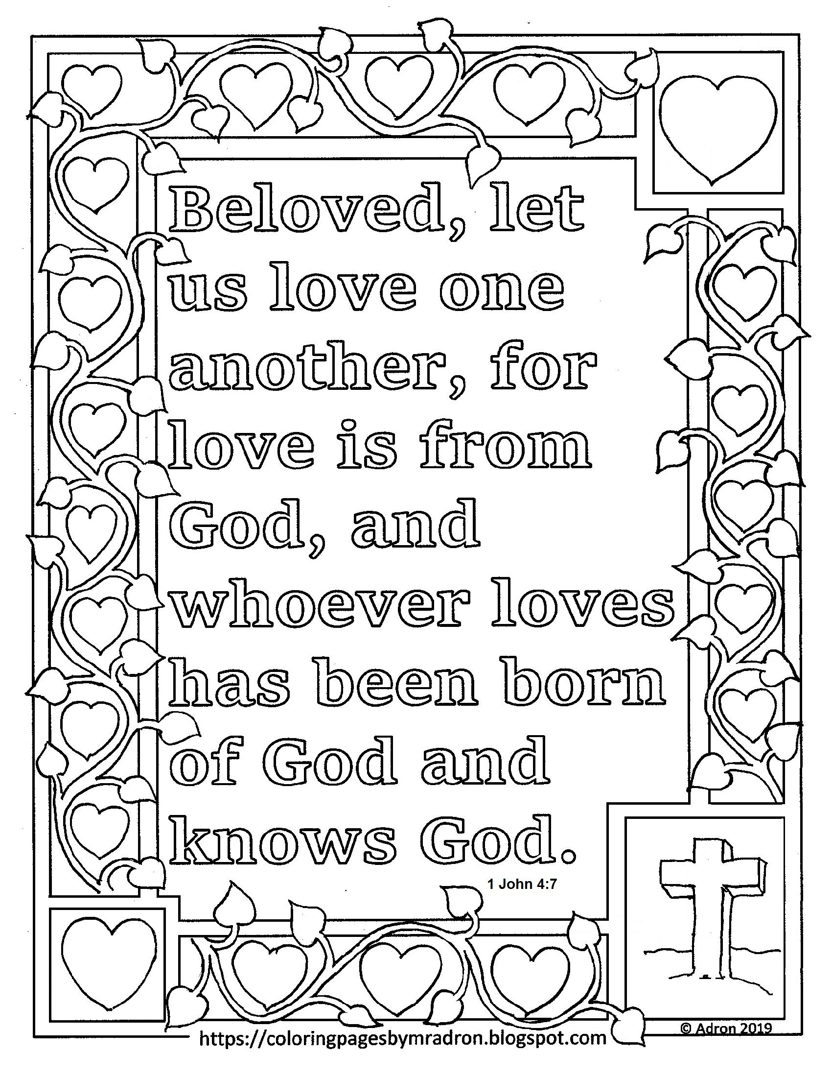 1 John 4 7 Print And Color Page Let Us Love One Another Bible Verse Love One Another Bible Love Coloring Pages Printable Coloring Pages