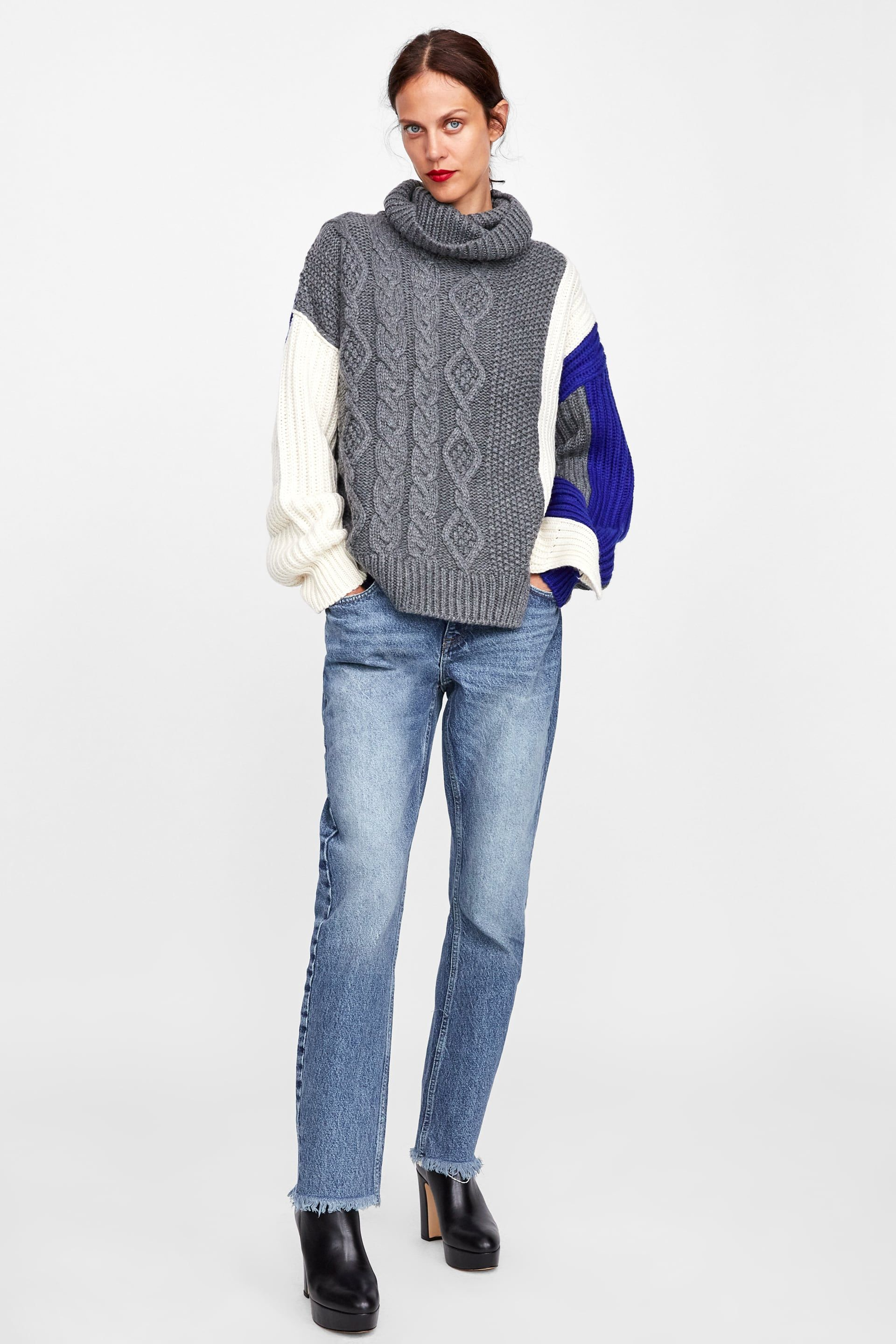 Image 1 of COLOR BLOCK CABLE KNIT SWEATER from Zara   Personal Style ...