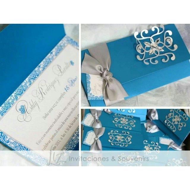 Azul Turquesa Para Una Princesa Invitaciones Para Los 15