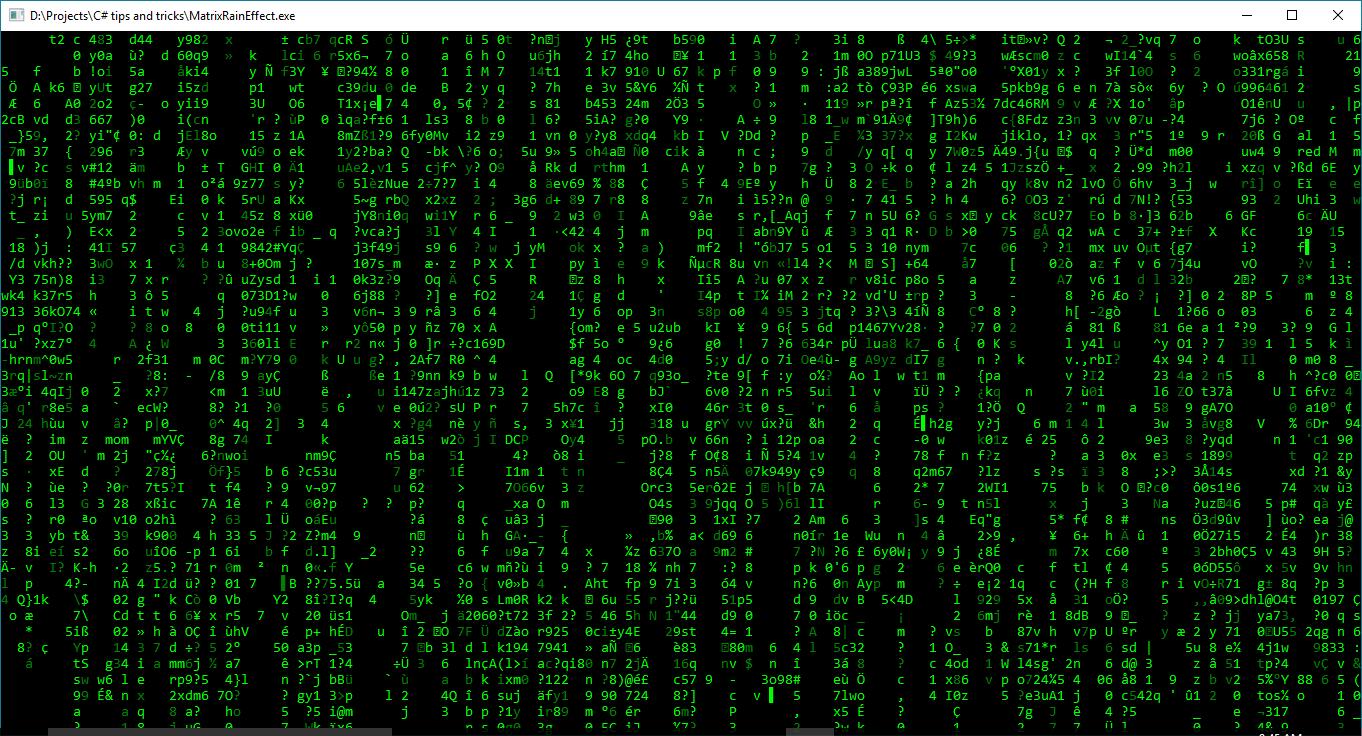 Matrix Rain Effect In C By Techie Deepank Matrix Rain Techies