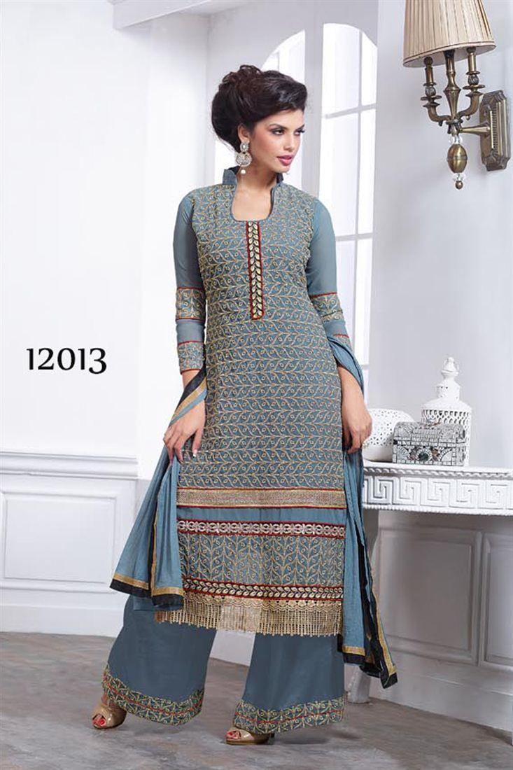 Stylish Grey Color Palazzo Salwar Kameez Girl Pinterest Gray