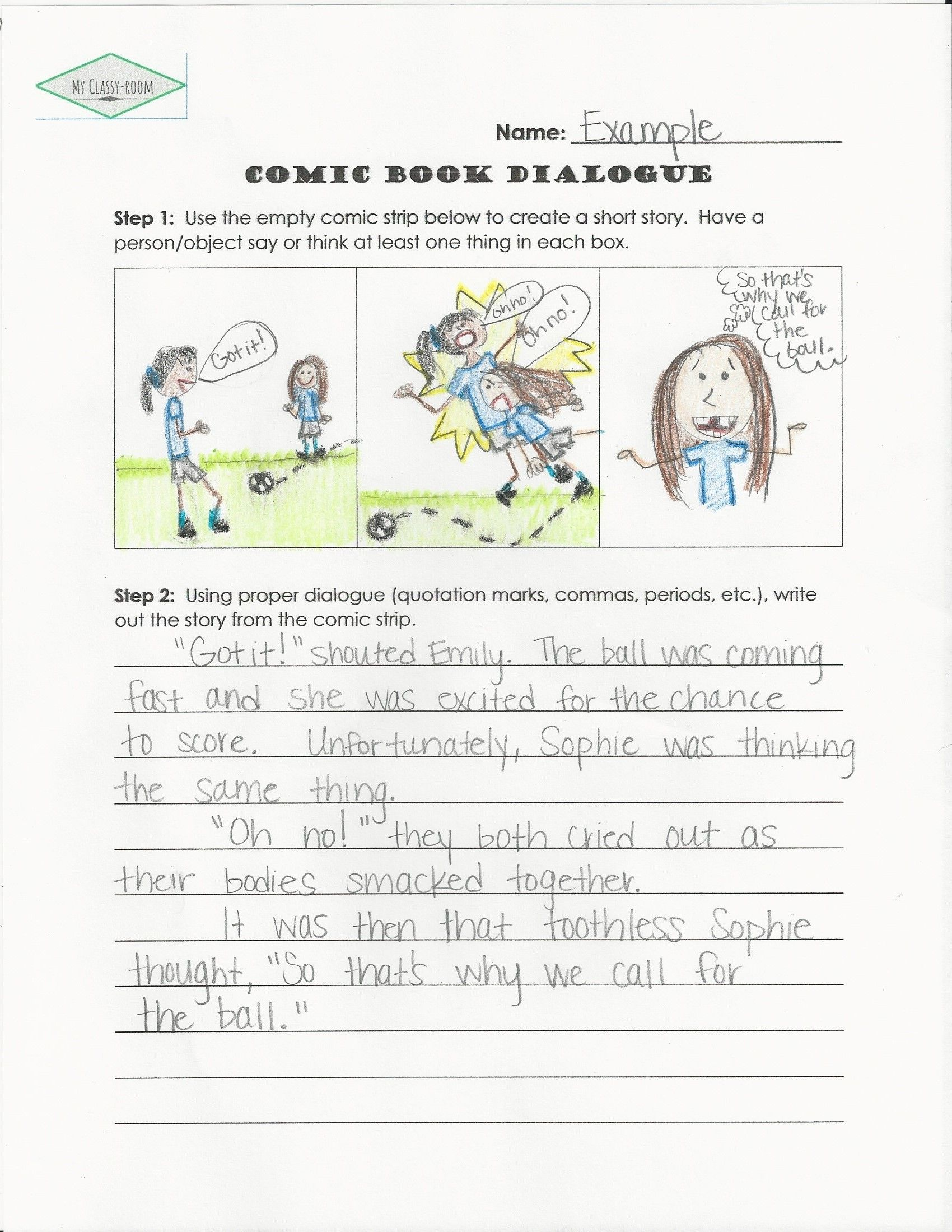 Practice using dialogue in writing by creating a comic strip and writing  out the story. In…   Kindergarten worksheets printable [ 2199 x 1700 Pixel ]