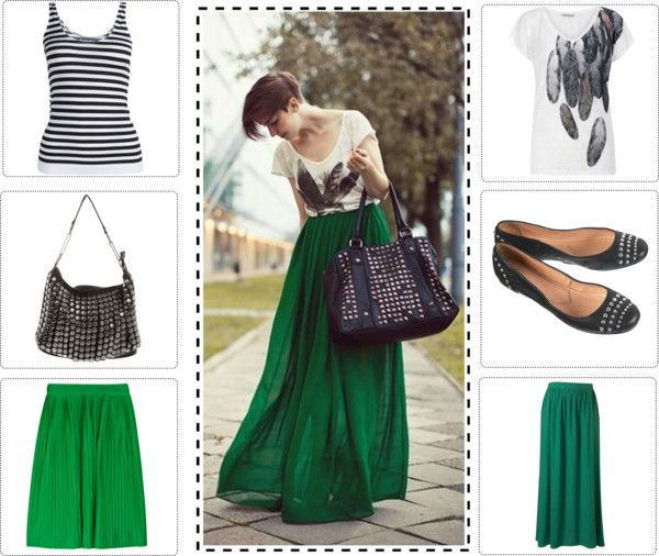 """emerald maxi skirt with white top"" by silme1 on Polyvore"