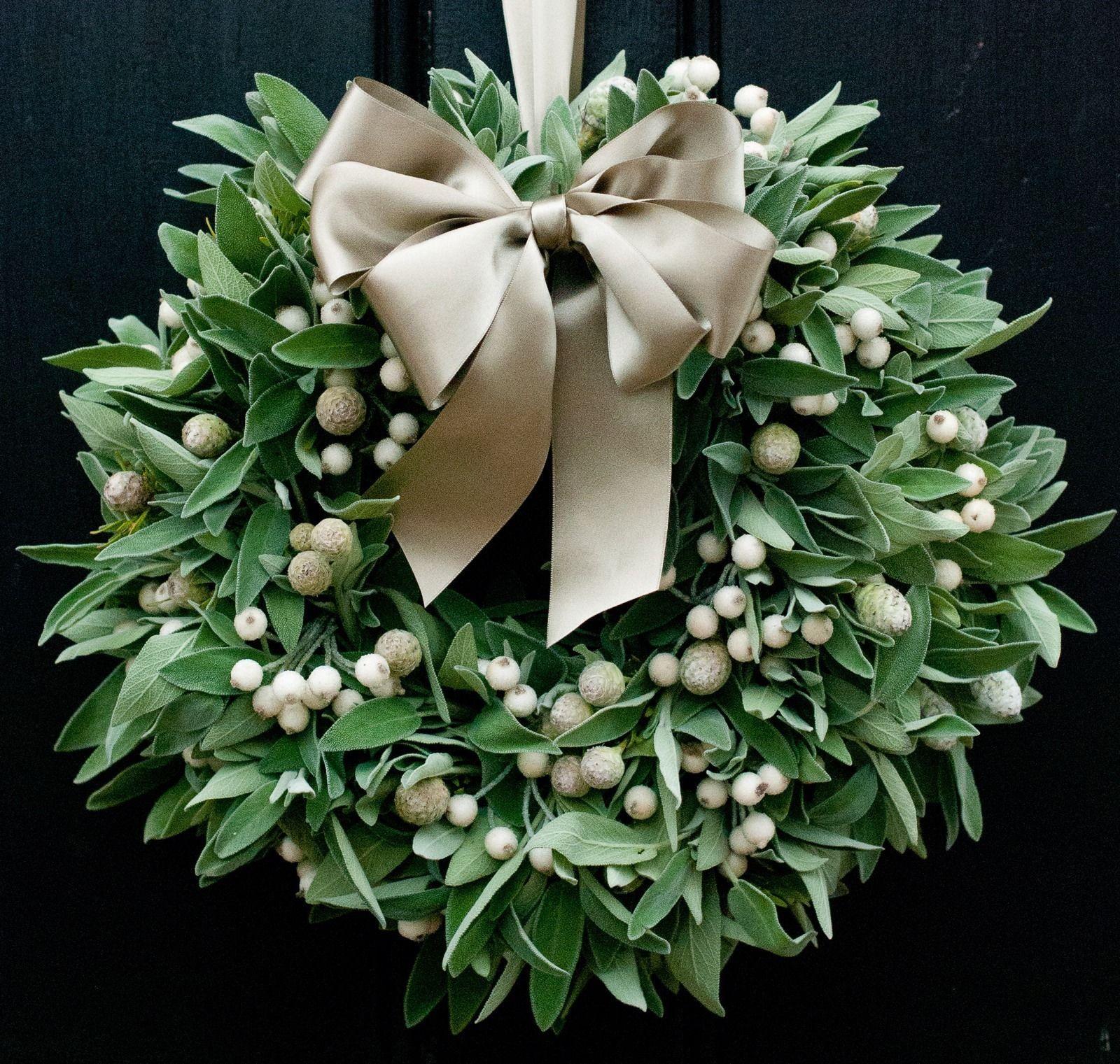 Fresh christmas wreath sage white berry wreaths