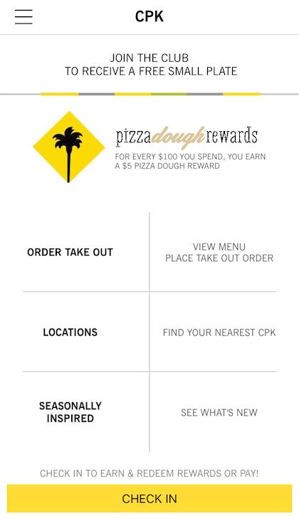 California Pizza Kitchens App Touts Mobile Pay Rewards Program