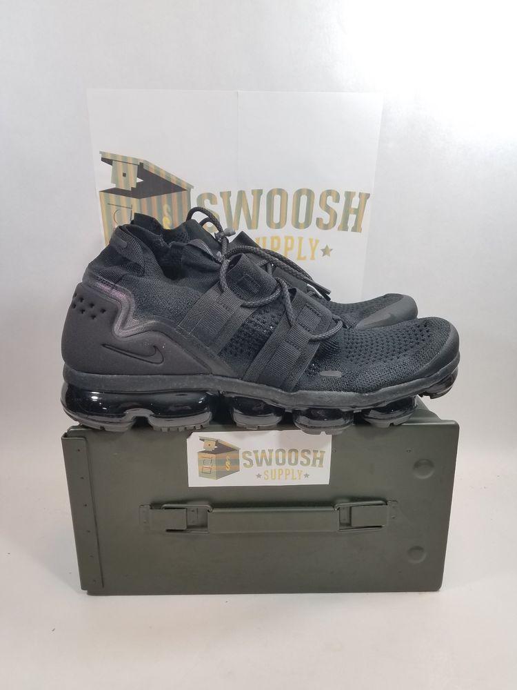 482caad0d71f NEW NIKE MENS AIR VAPORMAX FK UTILITY TRIPLE BLACK AH6834 001 sz 10  Nike