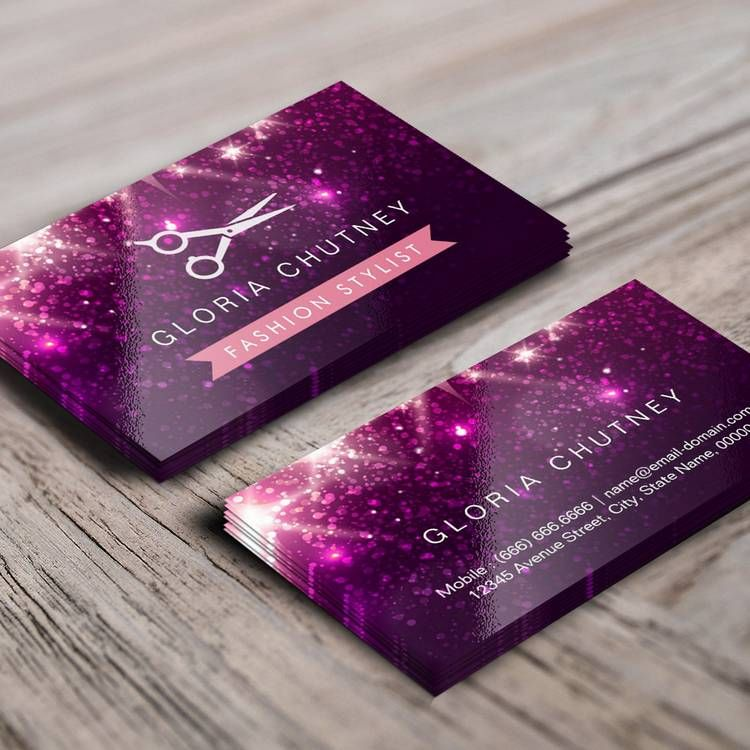 Hair stylist scissors pink purple glitter business card for Purple business cards
