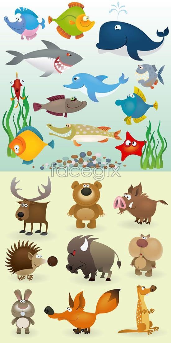 Cartoon Fish Land Animals Vector Cartoon Fish Animal Sketches Animals